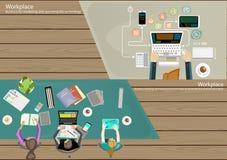 De vectortaak van de menings Moderne communicatietechnologieën van de Werkplaatszakenman hoogste, die mobiel, Notitieboekje, comp stock illustratie