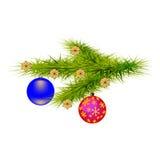 De vectortak van beeldkerstmis van bomen met mooie ballen Stock Afbeeldingen