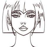 De vectortekening van het meisjes leuke gezicht Eps 10 Stock Afbeelding