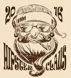 De vectortekening van Santa Claus hipster Stock Foto