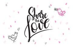 De vectortekst van de daggroeten van de hand van letters voorziende valentijnskaart ` s - deel de liefde - met hartvormen en voge Stock Foto's
