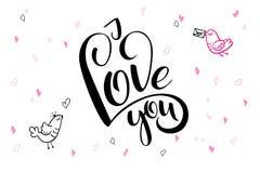 De vectortekst van de daggroeten van de hand van letters voorziende valentijnskaart ` s - I houd van u - met hartvormen en vogels Royalty-vrije Stock Afbeelding