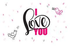 De vectortekst van de daggroeten van de hand van letters voorziende valentijnskaart ` s - I houd van u - met hartvormen en vogels Stock Afbeelding
