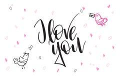 De vectortekst van de daggroeten van de hand van letters voorziende valentijnskaart ` s - I houd van u - met hartvormen en vogels Stock Foto's