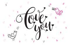 De vectortekst van de daggroeten van de hand van letters voorziende valentijnskaart ` s - liefde u - met hartvormen en vogels Royalty-vrije Stock Foto