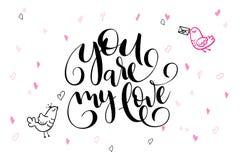 De vectortekst van de daggroeten van de hand van letters voorziende valentijnskaart ` s - u bent mijn liefde - met hartvormen en  Stock Foto's