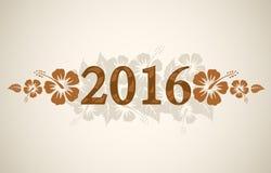 De vectortekst van 2016 met tropische hibiscus Stock Afbeelding