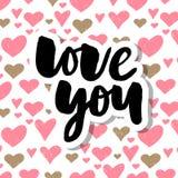 De vectortekst van de Valentijnskaartendag met schittert elementen Glans hand getrokken brieven, Zwarte en goud Ik houd van u Rom stock illustratie
