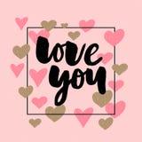 De vectortekst van de Valentijnskaartendag met schittert elementen Glans hand getrokken brieven, Zwarte en goud Ik houd van u Rom vector illustratie