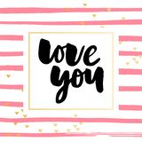 De vectortekst van de Valentijnskaartendag met schittert elementen Glans hand getrokken brieven, Zwarte en goud Ik houd van u Rom royalty-vrije illustratie