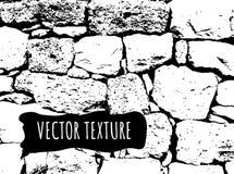 De vectortextuur van de steenbakstenen muur Zwart-wit spoor Zwart-wit gruis, oud effect Grungewijnoogst vector illustratie