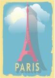 De vectortoren van illustratieeiffel van Parijs Frankrijk op retro stijlaffiche of prentbriefkaar Stock Afbeelding