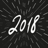 De vectoruitdrukking van de 2018 Nieuwjaarkalligrafie Moderne het van letters voorzien samenstelling en uitbarsting Royalty-vrije Stock Foto's