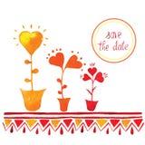 De vectoruitnodiging van de bloemdecoratie te vieren Sparen de Datum Stock Fotografie