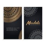 De vectoruitnodiging van het luxehuwelijk met mandala Stock Foto