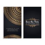 De vectoruitnodiging van het luxehuwelijk met mandala Stock Foto's