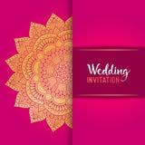 De vectoruitnodiging van het luxehuwelijk met mandala Royalty-vrije Stock Afbeeldingen