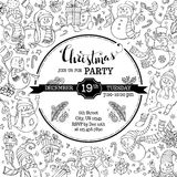 De vectoruitnodiging van de Kerstmispartij met leuke krabbelssneeuwmannen royalty-vrije illustratie