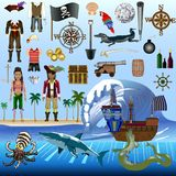 De Vectoruitrusting van piraatelementen - de Karakters van Posable Dressable met Gedetailleerde Kostuums - Objecten Dieren royalty-vrije illustratie