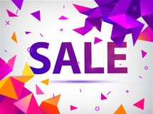 De vectorverkoop facetteerde 3d banner, affiche Stock Foto