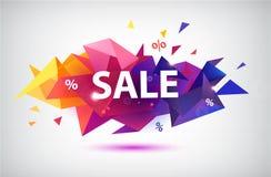 De vectorverkoop facetteerde 3d banner, affiche stock illustratie