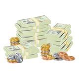 De Vectorverpakking van honderdendollars in Bundels van Bankbiljetten, Rekeningen, Gouden Muntstukken De Stapelsillustratie van h royalty-vrije illustratie