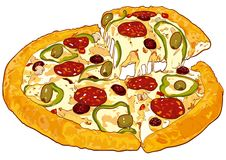 De vectorversie van de pizza Stock Foto