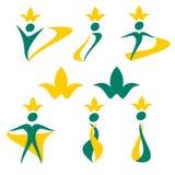 De vectorviering van tekeningsmensen, embleem, gezondheid, plantkunde, ecologie, bloem stock illustratie