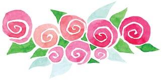 De vectorvignetwaterverf nam groene bloemen toe Stock Foto