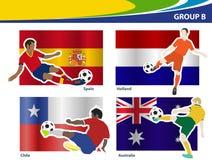 De vectorvoetballers met Brazilië 2014 groeperen B Royalty-vrije Stock Afbeeldingen