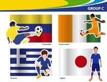 De vectorvoetballers met Brazilië 2014 groeperen C Stock Foto