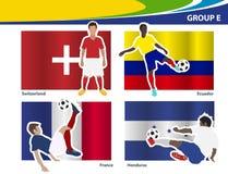 De vectorvoetballers met Brazilië 2014 groeperen E Stock Fotografie