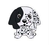 De vectorvoorraadillustratie isoleerde Emoji-pijnlijk, de schuwe hond van het karakterbeeldverhaal en bloost sticker emoticon vector illustratie