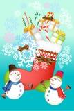 De vectorvoorwerpen van de Kerstmiskaart, sneeuwman, pijnboomboom en giftenillustratie - vectoreps10 Royalty-vrije Stock Afbeeldingen