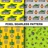 De vectorvoorwerpen van de pixelkunst om naadloos patroon te vormen Achtergrond met tanks, boom, voor jongens in jaren '80-jaren  Stock Afbeelding