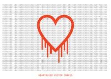 De vectorvorm van het Heartbleed openssl insect, aftappend hart met muur van Royalty-vrije Stock Afbeeldingen