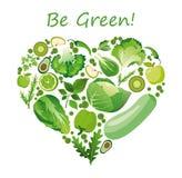 De vectorvorm van het illustratiehart van groene vruchten en groenten Gezond voedings organisch concept in vlakke stijl royalty-vrije illustratie