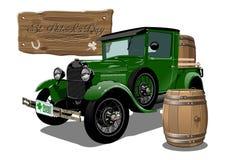 De vectorvrachtwagen van het het beeldverhaalbier van Heilige Patrick ` s uitstekende Stock Afbeelding