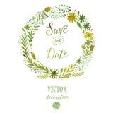 De vectorwaterverf kleurrijke cirkel bloemenkronen met de zomer bloeit en centrale witte copyspace voor uw tekst Handdrawn vector Royalty-vrije Stock Afbeelding