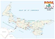 De vectorwegenkaart van prinsedward island met vlag Royalty-vrije Stock Foto's