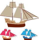 De vectorwijnoogst van het zeilschip stock illustratie