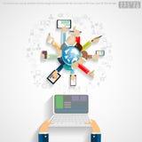 De vectorzakenman die moderne technologie gebruiken communiceert voor Succes met pictogram, wereld, vlak ontwerp Stock Afbeelding