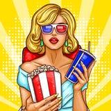 De vectorzitting van de pop-art blonde vrouw in het auditorium en het letten van een op 3D film Royalty-vrije Stock Foto's