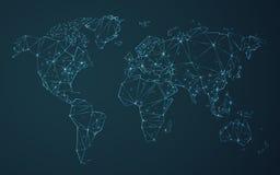 De veelhoekige die vector van de wereldkaart aan driehoekige lijnen met sterren op blauwe achtergrond wordt vereenvoudigd royalty-vrije illustratie