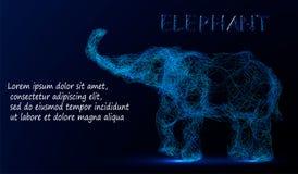 De veelhoekige lijnen vatten vectorsteekproefillustratie met ruimteolifant op de achtergrond van de kleurennacht samen stock illustratie