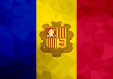 De veelhoekige vlag van Andorra Mozaïek moderne achtergrond Geometrisch ontwerp stock illustratie