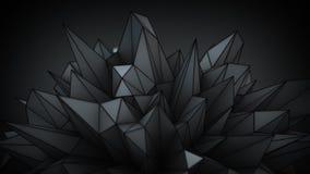 De veelhoekige zwarte oppervlakte in 3D studiosamenvatting geeft terug Royalty-vrije Stock Fotografie