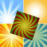 De veelkleurige achtergrond van de gradiëntzonnestraal Stock Foto's