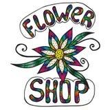 De veelkleurige winkel van de inschrijvingsbloem op de witte achtergrond Royalty-vrije Stock Fotografie
