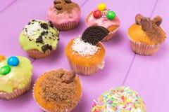 De veelvoudige die muffins met het multicolored berijpen, cacaopoeder en bonen, suikergoed hoogste mening worden verfraaid stemde Stock Foto